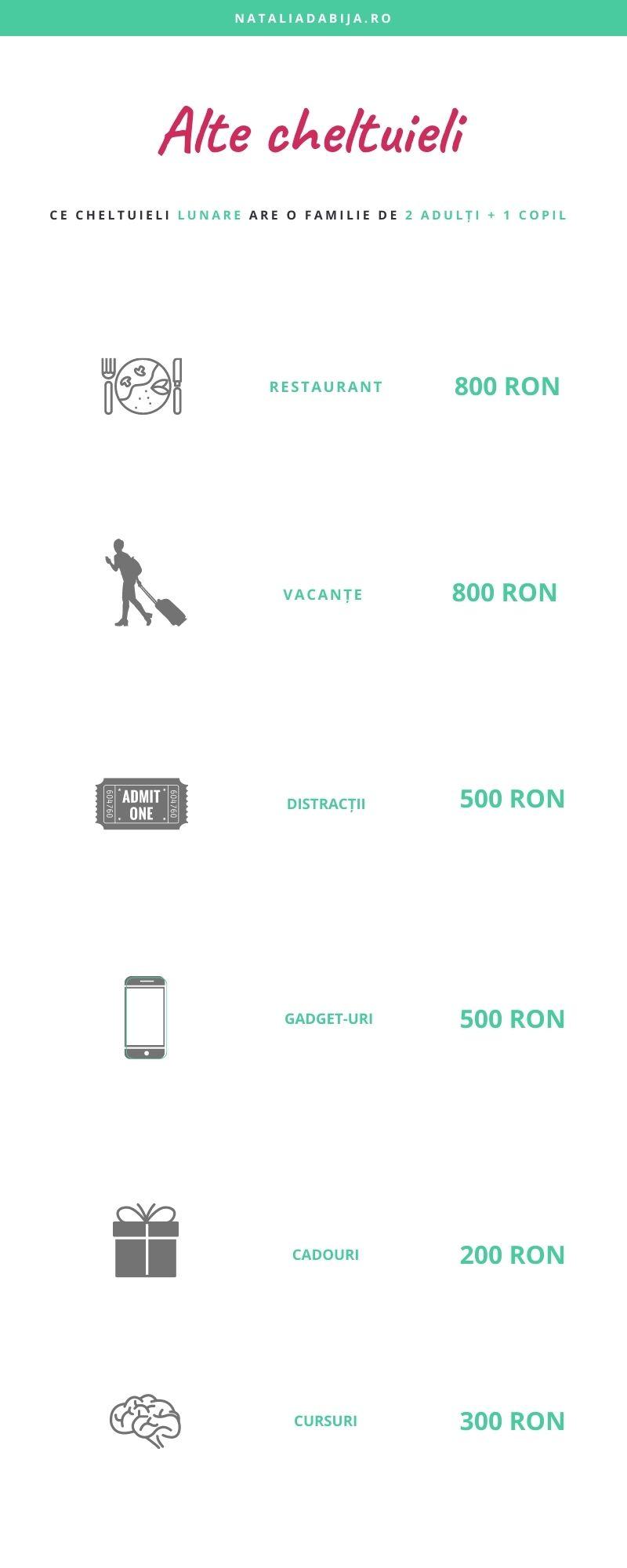 Ce alte cheltuieli are o familie de 2 adulți și 1 copil: restaurant - 800 ron, vacante 800 distractii 500, gadget-uri - 500 ron, cadouri 200 ron, cursuri și dezvoltare pesronala - 300 Ron